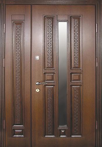 двуполая входная дверь со стеклом